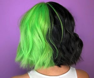 black hair, colored hair, and green hair image
