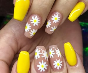 nails, yellow, and flower image