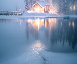 cabin, canada, and christmas image