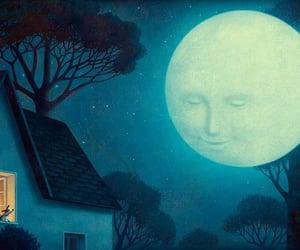 cottage, illustration, and moon image