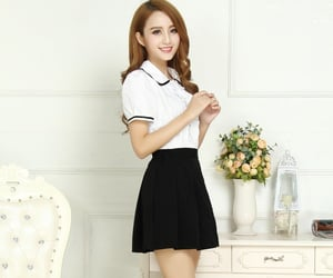 asian, ulzzang, and white blouse image