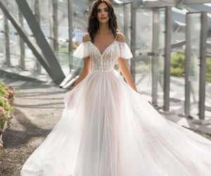 dress, bride, and chic image