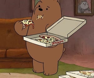 bear, cartoon, and pizza image