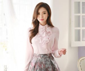 blouse, floral skirt, and pink image
