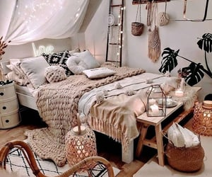 bed, interior design, and bedroom image