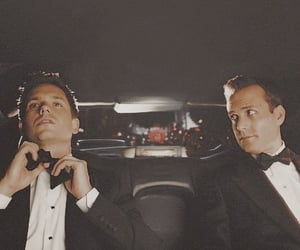 suit, mike ross, and harvey specter image