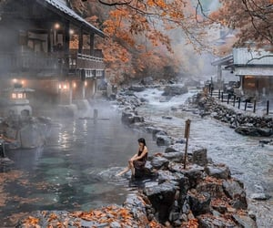 autumn, fall, and hot springs image