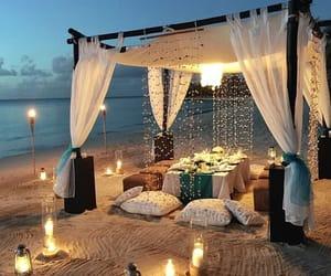beach, beautiful, and lights image