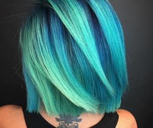 neon blue, green-blue hair color, and ocean hair color image