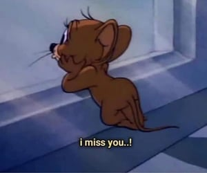 tom and jerry, sad, and i miss you image