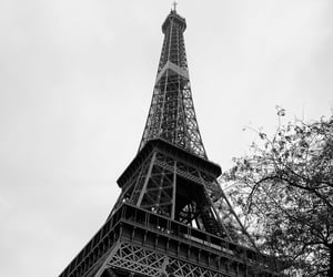 black and white, cities, and eiffel tower image