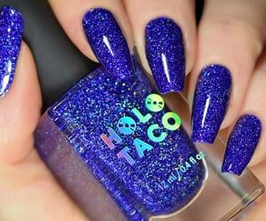 blue nails, holographic, and nail art image