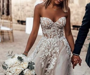 wedding dress, bride, and wedding image
