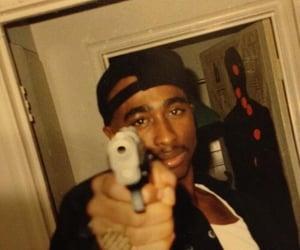 tupac, 2pac, and gun image