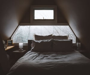 bed, forest cabin, and room goals image