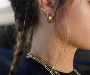 alternative, earrings, and gold image