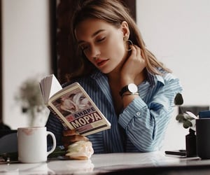 girl, reading, and book image