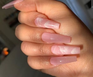 nails, clouds, and pink image