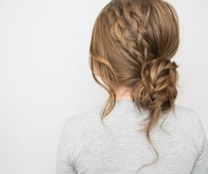 hairstyle, updo, and wavy image