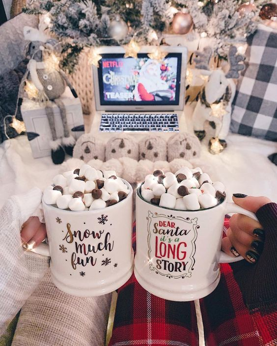 aesthetic, hot cocoa, and let it snow image