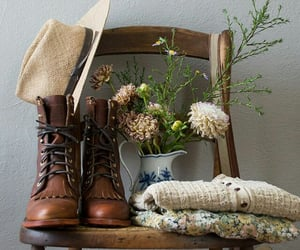 flowers, boots, and hat image