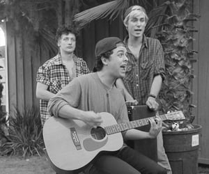 band, black and white, and guitar image