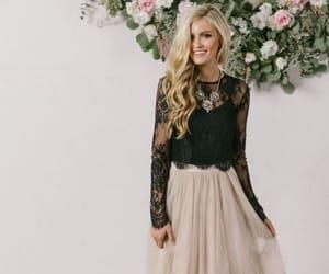black lace, blouse, and chiffon image