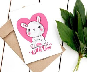cute bunny, i love you card, and instant download image