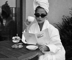 girl, coffee, and black and white image