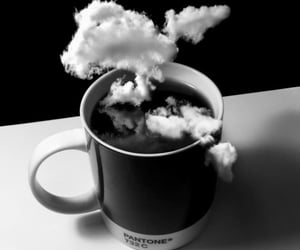 clouds, coffee, and black and white image