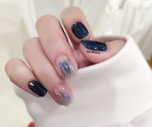 glitter, black nail art, and ombre image
