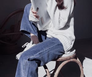 autumn, knitwear, and book image