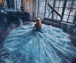 blue, dress, and princess image