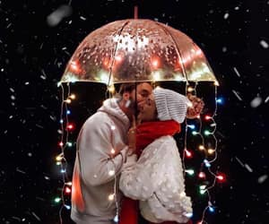 couple, kiss, and lights image