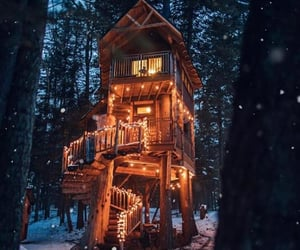 cabin, light, and snow image