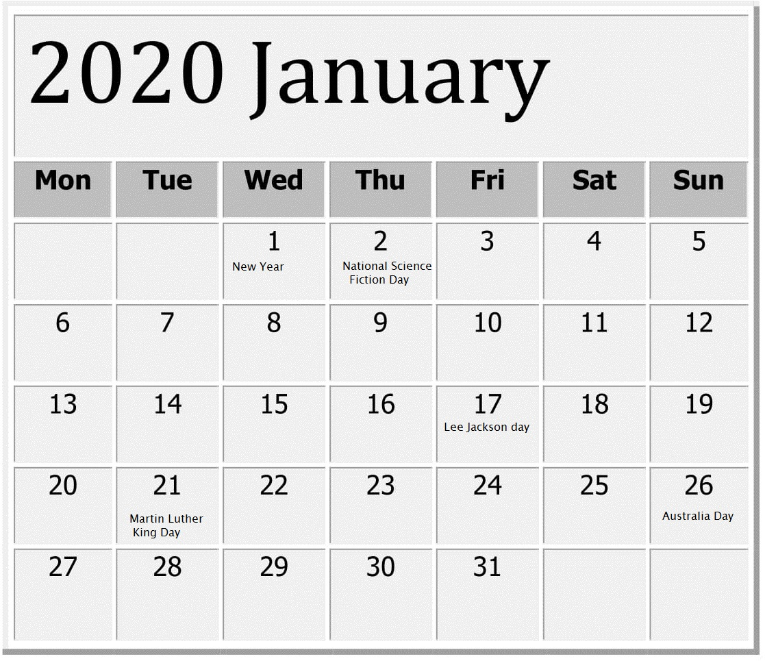 January 2020 Calendar With Holidays On We Heart It