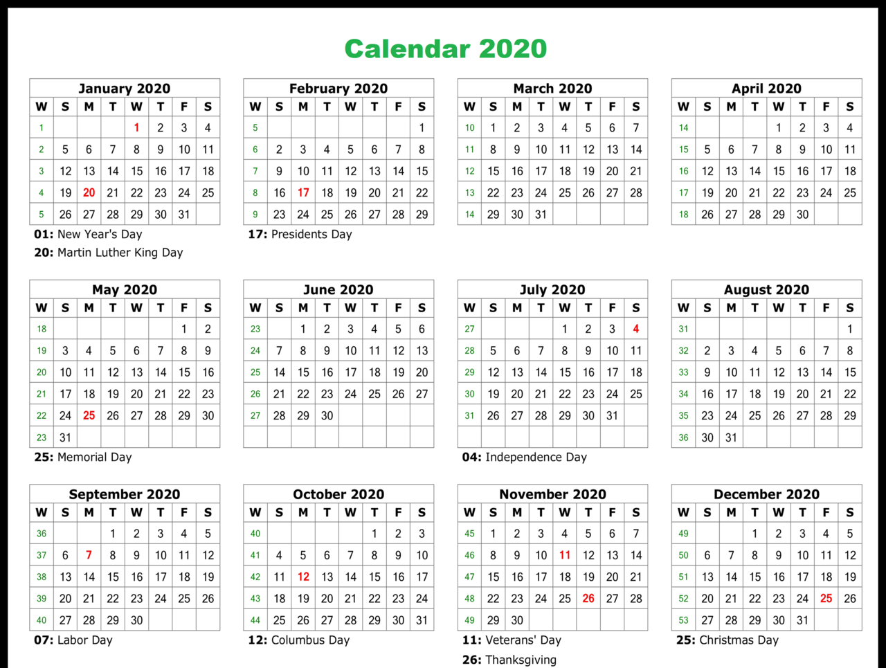 Free Printable Calendar 2020 Monthly Template With Holidays