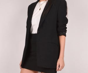 look, blazer preto, and blazer e saia image