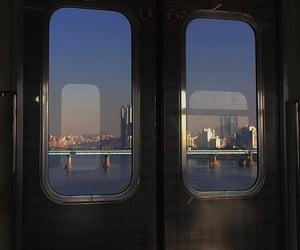 city, sunset, and train image