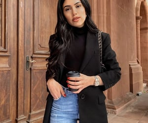 black sweater, classy, and clothes image