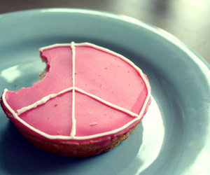 pink, peace, and cake image