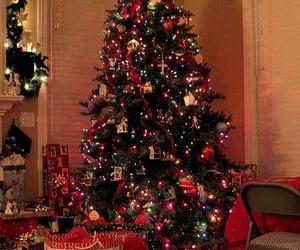 christmas lights, christmas tree, and christmas gift image