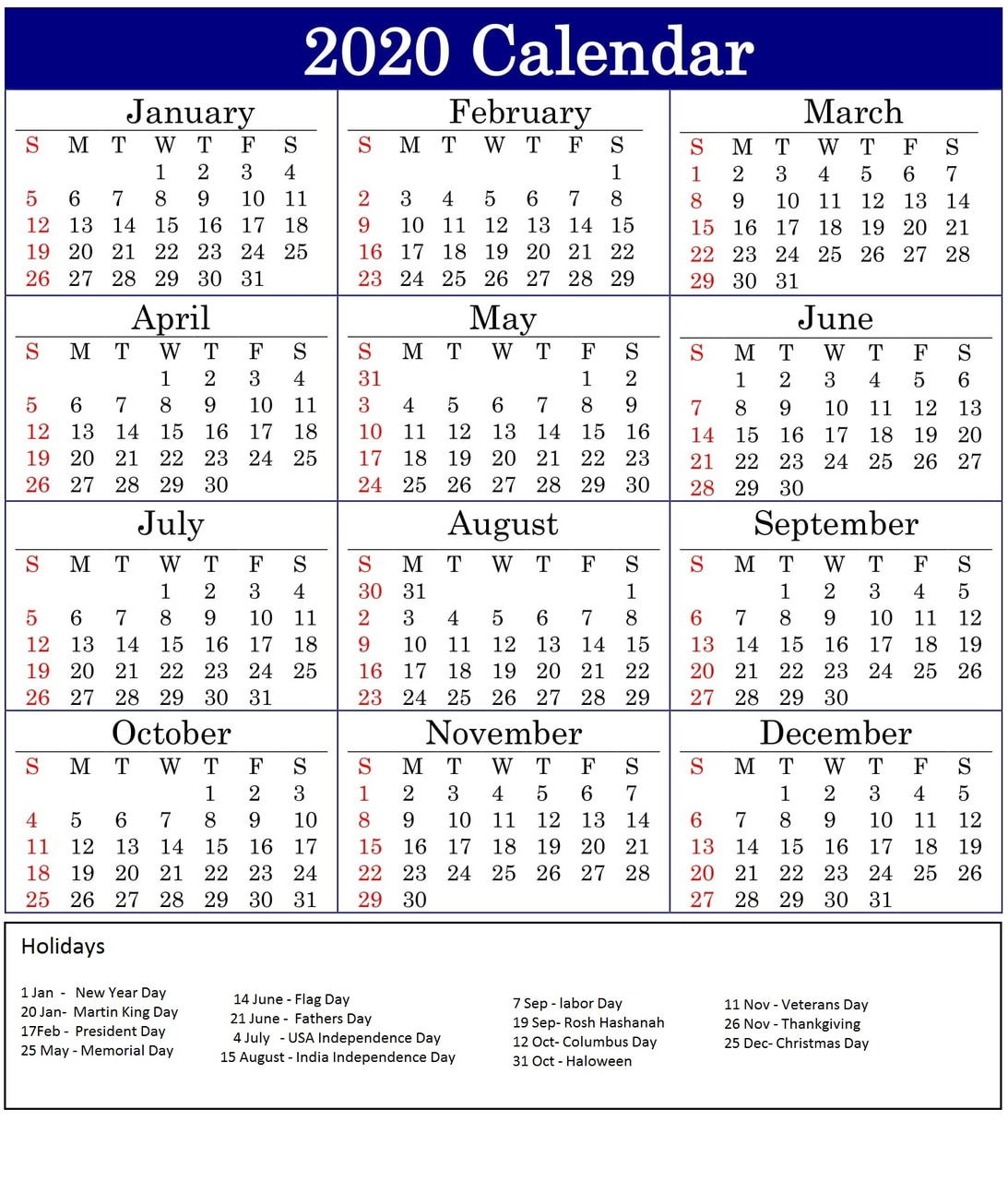 Canada 2020 Yearly Printable Calendar: Yearly 2020 Calendar On We Heart It