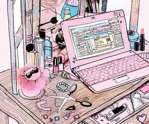 pink, girly, and laptop image