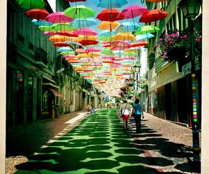 umbrella, street, and portugal image