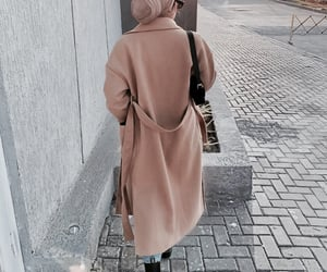 hijab, trench coat, and outfit image