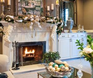 christmas, luxury, and fireplace image