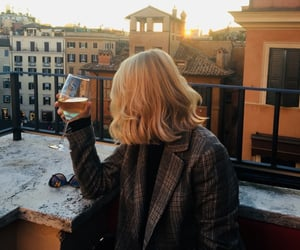 girl, sunset, and wine image