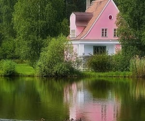 house, pink, and nature image