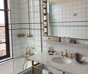 marble, bathroom, and gold image